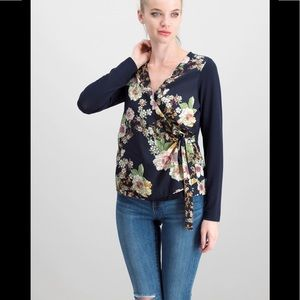 Kaileigh floral and light knit wrap blouse M